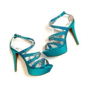 Gianni Bini Teal Ankle Jewel / Rhinestone Booties